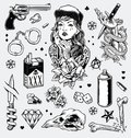 Edgy Black and White Tattoo Flash Set Royalty Free Stock Photo