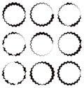 Edgy, zigzag circle frame, circle border. Textured circular shap Royalty Free Stock Photo