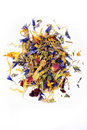 Edible dried flower petals over white Stock Photography