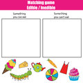 Edible inedible educational children game, kids activity sheet Royalty Free Stock Photo