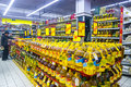 Edible oil in supermarket of various brands for sale shelves guangxi china Royalty Free Stock Image
