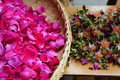 Edible roses were pieced in the morning prepare to make rose jam Stock Photos