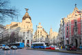 Edifisio metropolis building on gran via street in madrid march at early spring morning march spain number of Stock Photography