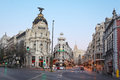 Edifisio metropolis building on gran via street madrid march march in madrid spain in number of tourists in resorts of spain Stock Image