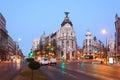 Edifisio Metropolis building on Gran Via street in Madrid Royalty Free Stock Photo