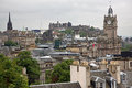 Edinburgh from calton hill including castle balmoral hotel and scott monument uk Stock Photo