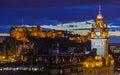 Edinburgh Castle and the Balmoral Hotel in Scotland