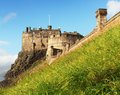 Edinburgh castle in a blue sky in summer scotland uk Stock Photo