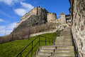 Edinburgh Castle and Grannys Green Steps Royalty Free Stock Photo
