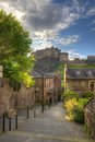 Edinburgh castle from heriot place edinburgh scotland uk view on Royalty Free Stock Photo