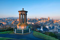 Edinburgh from castle hill sunrise view across the city of calton Stock Photography