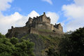 Edinburgh Castle, Scotland, from Princes Street Gardens, with th Royalty Free Stock Photo