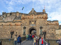 Edinburgh castle uk september tourists visiting the iconic scottish attraction and the oldest building in town Royalty Free Stock Photos
