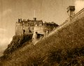 Edinburgh castle view of in sepia scotland uk vintage effect Royalty Free Stock Photography