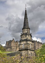 Edinburgh church tower in scotland uk Royalty Free Stock Photo