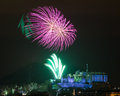 Edinburgh fireworks scotland uk spectacular hogmanay new years eve over castle europe Stock Photo