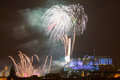 Edinburgh fireworks scotland uk spectacular hogmanay new years eve over castle europe Royalty Free Stock Photos