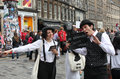 Edinburgh fringe festival august members of i bugiardini publicize their show shhhhh an improvised silent movie during Stock Images