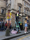Edinburgh fringe festival august members of livewire publicize their show twelfth night during on august in uk Royalty Free Stock Photography