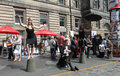 Edinburgh fringe festival august members of theatre productions publicize their show desdemona during on august in Stock Images