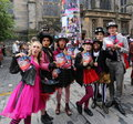 Edinburgh fringe festival august members of young pleasance publicize their show alice unhinged during on august in Royalty Free Stock Photography