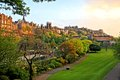 Edinburgh scene at sunset view of old scotland from princes street gardens Royalty Free Stock Image