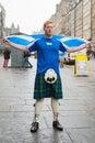 Edinburgh scotland uk – september independence referendum day man expressing his opinion on during Stock Photos
