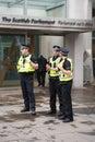 Edinburgh scotland uk – september independence referendum day police men guarding scottish parlament building on Stock Photo