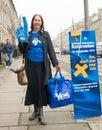 Edinburgh scotland uk – september independence referendum day public expressing their opinion on during in Stock Image