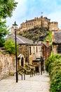 Edinburgh Castle viewd from the Vennel Royalty Free Stock Photo