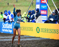 Edinburgh scotland uk january trihas gebre cros crosses the finish line in third place in the woman s k race at the great Royalty Free Stock Photos