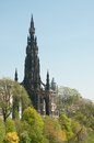 The Edinburgh Scott monument on Princes Street Royalty Free Stock Images