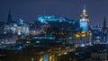Edinburgh Skyline at Night Royalty Free Stock Photo