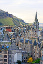 Edinburgh street panorama arthurâ s seat background Stock Images