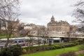 Edinburgh train station and Princess street Royalty Free Stock Photo