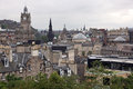 Edinburgh vista from calton hill including castle balmoral hotel and scott monument uk Stock Image