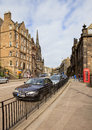 Edinburghs streets in evening sunny rays edinburgh is the capital city of scotland situated lothian on the southern shore of Royalty Free Stock Image