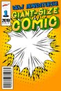 Comic book cover with abstract background.