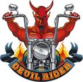 Red devil riding motorcycle Royalty Free Stock Photo