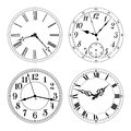 Editable vector clock faces. Arabic and roman numerals. Royalty Free Stock Photo