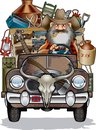 Cartoon of hillbilly driving rusty pick up truck