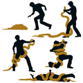 Editable vector illustration sequence of a man wrestling with a large snake and losing Royalty Free Stock Photos