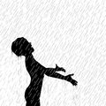 Editable vector illustration young boy enjoying rain Stock Photo