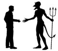 Editable vector silhouette of a man hesitating to shake hands to do a deal with the devil Stock Photography