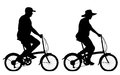 Editable vector silhouettes overweight couple riding small bicycles exercise people bicycles hats as separate objects Stock Photography