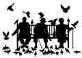 Editable vector silhouettes three elderly people park bench feeding pigeons all elements as separate objects Stock Photos