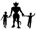 Editable vector silhouettes two children leading lizard monster hands figures as separate objects Stock Images