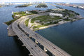Editorial aerial photo macarthur causeway miami beach florida Stock Photos