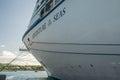 Editorial caribbean november royal caribbean s adventure of the seas docked near an island in sea in Stock Photography