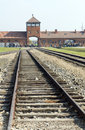 Editorial infamous iconic train entry gate building birkenau ger poland october the tracks and where prisoners arrived at german Stock Photography